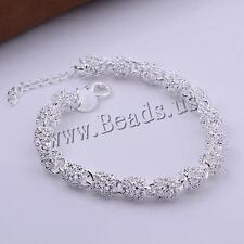 Fashion Women Real 925 Silver Bangle Bracelet Crystal Charm Chain for Lady AU3E