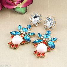 E14 Blue Red & Pink Faux Crystals Chandelier Statement Dangle Stud Earrings