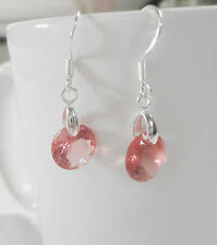 Orange-Pink Crystal Rhinestone Zircon Drop Dangle Sparkly Earrings, 925 silver