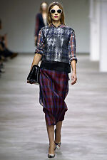 =CHIC= DRIES VAN NOTEN Runway Silver Plaid Contrast Tartan Back Tank Top AU 10