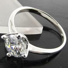 A042 GENUINE 18K WHITE G/F GOLD SOLID CLASSIC DIAMOND SIMULATED SOLITAIRE RING
