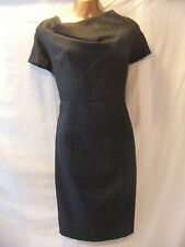 LADIES NWT Dorothy Perkins 16 GREY SERGE/SHADOW CHECK/FEATURE NECK/CAP SLEEVE FR