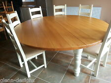 Solid wood fixed round kitchen dining tables ebay for 10 seat round table size
