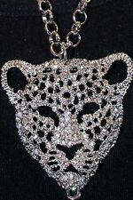 Kristall Leoparden Anhänger+Kette 76 cm versilbert Collier Katzen Silber Strass
