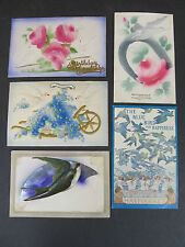 Vintage postcards, 3 Greeting ones with Birds embossed, Haymarket & layered card