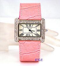 Designer Silver, Pink Vegan Leather Ladies Dress Wag Watch W/ Swarovski Crystals