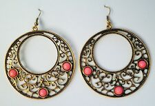 Large Gold tone Drop Earrings in with Coral coloured Beads On Hooks
