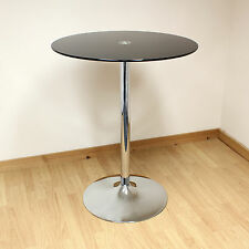 Hartleys 80cm Black/Chrome Tall Round Glass Bistro/Cafe Style Breakfast Table