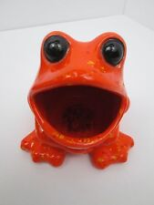 VTG 70's Wide Mouth Orange Spotted Frog Sink Sponge Scrubby Scrubbie Holder