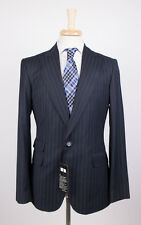 NWT. DSQUARED 2 NAPOLI Navy Blue Striped Wool Peak Lapels Suit Size 50/40 R