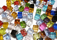 100pc 4mm Crystal Glass Cube Beads- Mixed Assorted Colours (BC4001)