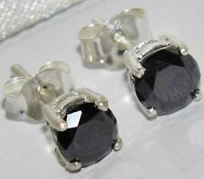 1.00ct Natural Black Diamond Solitaire Stud Earrings Set in Sterling Silver