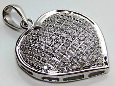A HUGE 9CT 9KT WHITE  GOLD 1CT 1 CARAT DIAMOND HEART PENDANT NECKLACE
