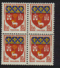 FRANCE 1958 ARMS TOULOUSE 80c MNH BLOCK 4 FRENCH SHIELD MINT NEVER HINGED