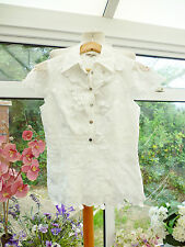 STUNNING *KAREN MILLEN* WHITE FLORAL EMBROIDERED APPLIQUE FITTED TOP  Sz 8