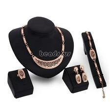 Luxury Vintage Women Cocktail Jewelry Set Necklace Earring Bracelet Finger Ring