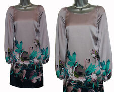 MONSOON Light Purple Hammered Silk Satin Floral Print Long Sleeve Dress UK 12