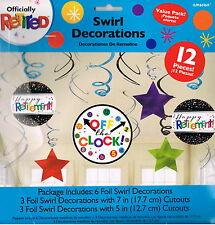 HAPPY RETIREMENT SWIRLS - HANGING DECORATION PACK OF 12