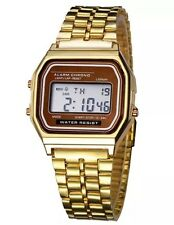 Fashion Classic Unisex Women Men Stainless Steel Digital Led Wrist Watch Gold