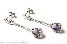 9ct White Gold Amethyst Teardrop Earrings Gift Boxed Made in UK