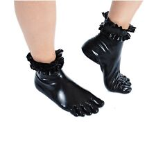 Latex Rubber Toe Socks With Hold Ups Black UNISEX TV Fetish