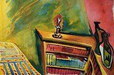 EXPRESSIONIST - RAUM MIT REGAL UND KERZE - MODERN EXPRESSIV ART - UM 1950