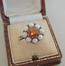 Vintage 9ct Gold Citrine and Pearl Ring