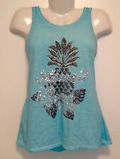 Women's Aqua Blue Silver Sequin Embellished Stretch Tank Top NEW Size 14