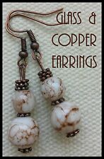 Vintage Style White & Brown Marbled Glass & Copper Droppers Danglers Earrings