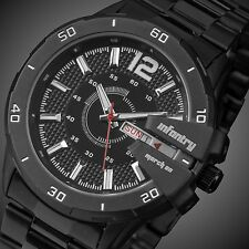 INFANTRY Mens Quartz Wrist Watch Date Day Illuminate Sport Black Stainless Steel
