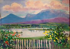 Aquarell,Pastell,wohl Ansicht des Riegsee mit Gebirge,um 1950