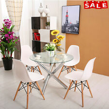 Modern Glass Round Dining Chrome Legs And 4 White White Eames Chairs Table Set