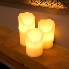 SET OF 3 HOME DECOR WEDDING FLICKERING FLAMELESS DRIPPING WAX CANDLE LED LIGHTS