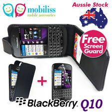 PU Synthetic Leather Flip Case Cover for BlackBerry Q10 Screen Protector Black