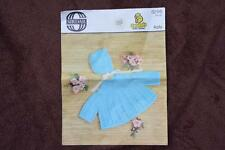 """VINTAGE Knitting Pattern Sirdar 4 ply SNUGGLY #3295 Baby Matinee Coat-Hat 18""""19"""""""