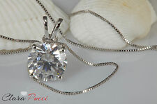 "2 Ct Round Cut 14K White Gold Simulated Diamond Pendant Necklace With 18"" Chain"