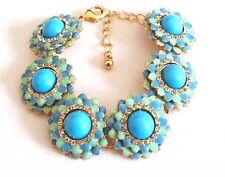 "NEW Blue Mint Crystal Statement Bracelet Bubble Chain Women's Adjustable 8"" US"