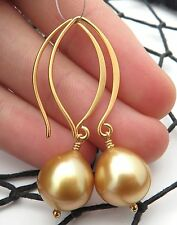 GORGEOUS AAA SOUTH SEA PHILIPPINES DEEP GOLD CULTURED PEARL EARRINGS 24K VERMEIL