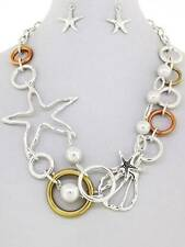 Starfish shell charm faux pearl silver gold copper earring necklace set jewelry