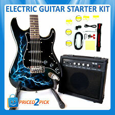 Black Electric Guitar and Amp Amplifier with Bag Strap Tuner Set Kit Pack