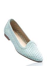 Klassischer Echt Lederslipper Schuhe in Mint  - Gr. 36 - M871 - 941623