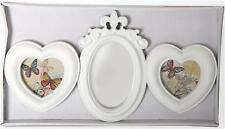 Shabby Chic White Heart Ornate Mirror Aperture Multi Photo Picture Frame Hanging