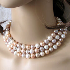 "48"" 10-11mm Multi Color Freshwater Pearl Necklace White Pink Lavender"