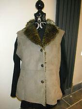 M Sized Per Una Gilet Waistcoat Jacket Body warmer Faux Suede Faux Fur Lined