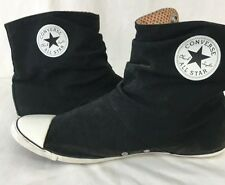 Women's Size 10 Converse Canvas Black Flat Boots