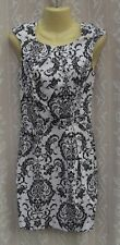 Ladies Cream & Black Floral Dress Size 8 VGC Lined Fitted