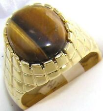 18K GOLD EP OVAL MENS RING TIGER EYE sizes 8-11 available you choose