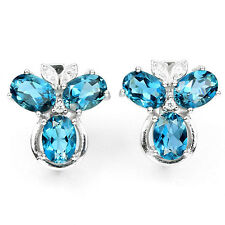 Ohrringe Blautopas London Blue & CZ 925 Silber 585 Weißgold