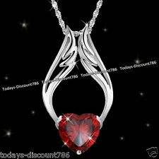 BLACK FRIDAY SALE Red Heart Crystal Necklace Silver Women Xmas Gift For Her Wife
