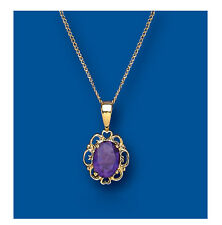 """Yellow Gold Real Amethyst Fancy Pendant With 18"""" Chain - UK Made - Hallmarked"""